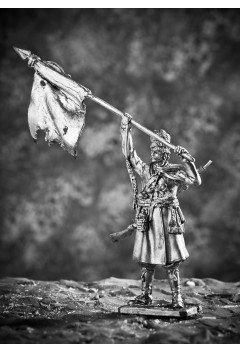 Cossack of the Don Cossack regiment with a captured French banner.
